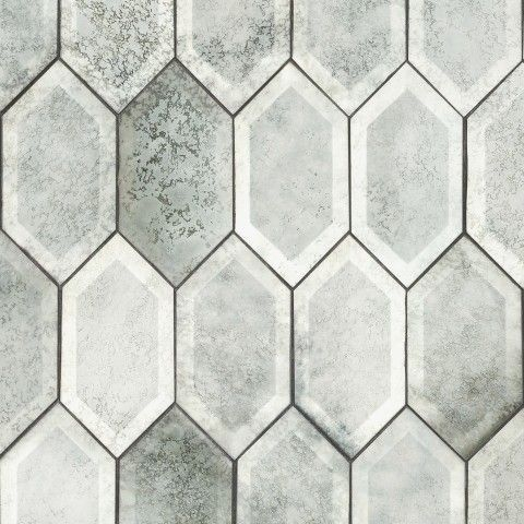 artistic tile elongated hex in antique mirror glass