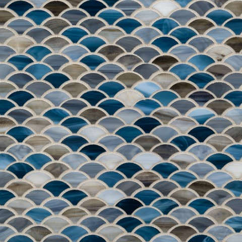 Artistic Tile Mermaid Pattern Glass mosaic_Jazz_Glass_Scales_Blue_Blend