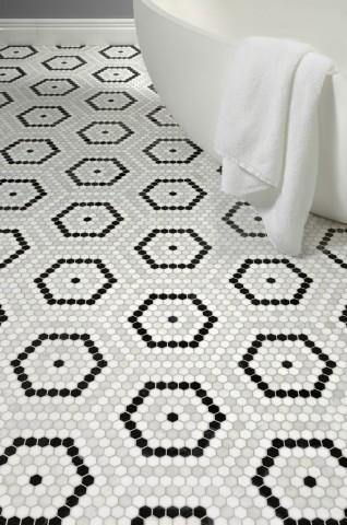 hexagon stone mosaic install