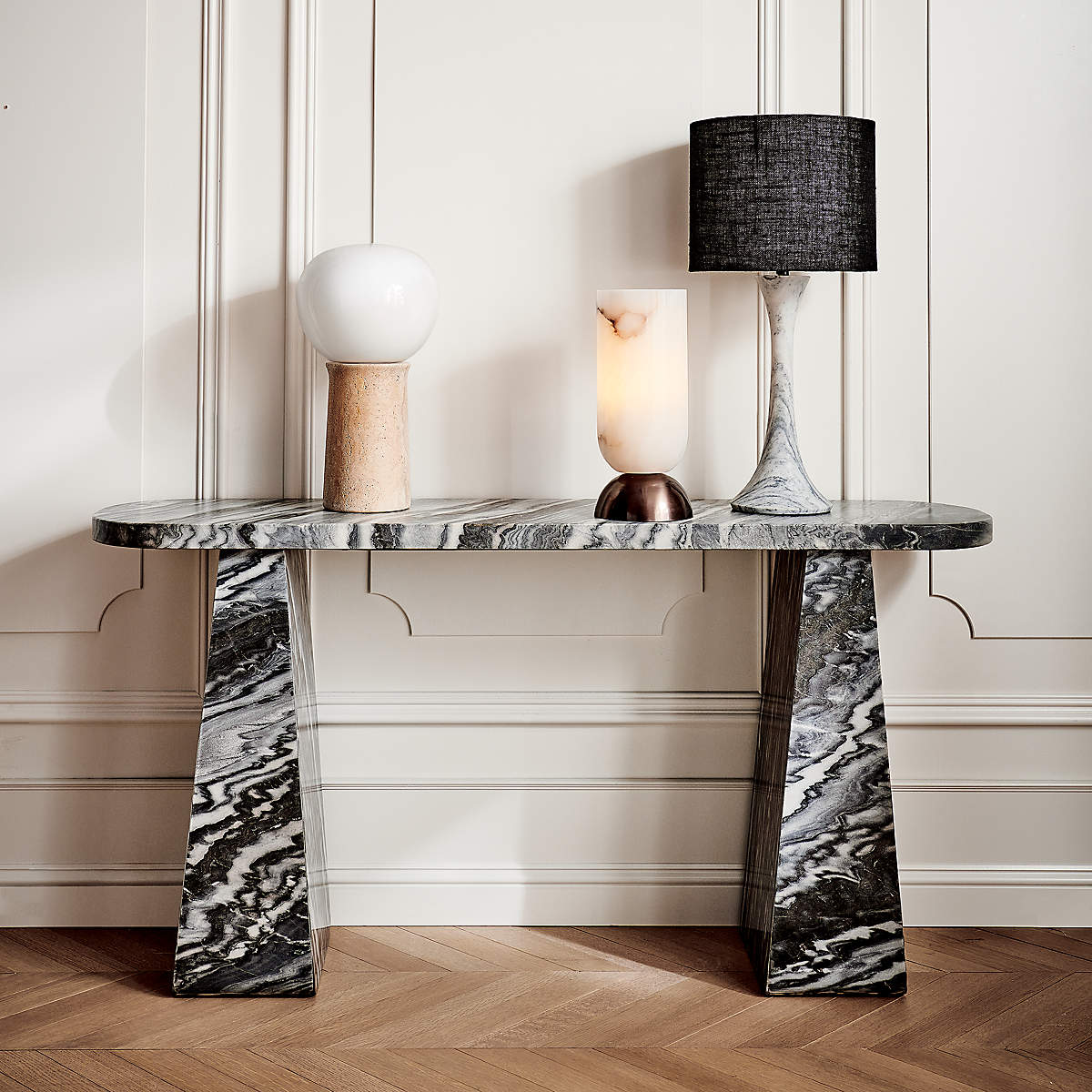 CB2 Fin Travertine Table Lamp