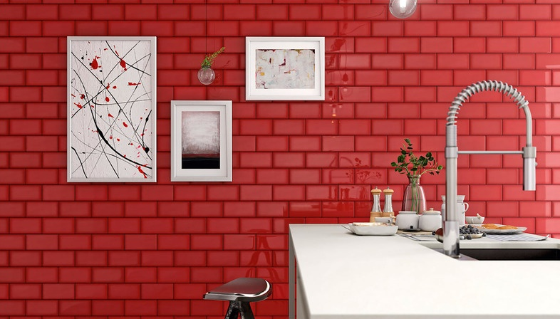 Red subway tile